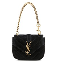 Saint Laurent Mini College Chain Wallet Quilted Suede Handbag Black