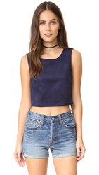 Bb Dakota Jack By Delacour Faux Suede Crop Top Night Sky