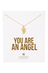 Dogeared 14K Gold Plated Sterling Silver You Are An Angel Guardian Angel Wing Necklace Metallic
