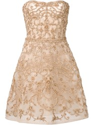 Monique Lhuillier Beaded Strapless Dress Nude And Neutrals