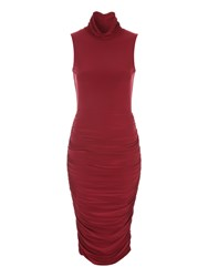 Jane Norman Ruched High Neck Midi Dress Berry