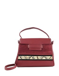 Sam Edelman Terri Leather And Suede Top Handle Bag Tango Red