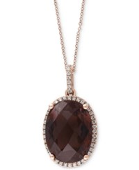 Effy Sienna By Smoky Quartz 2 3 8 Ct. T.W. And Diamond 1 4 Ct. T.W. Pendant Necklace In 14K Gold Brown