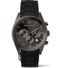 Emporio Armani Ar5889 Stainless Steel And Silicone Watch Black