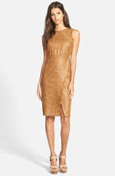 June Hudson Faux Leather Body Con Dress Brown