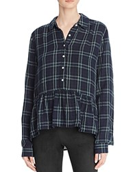 Birds Of Paradis Plaid Peplum Shirt Navy Dark Green Plaid