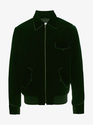 Saint Laurent Seventies Velvet Teddy Jacket Green Black