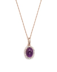 Bloomingdale's Amethyst And Diamond Pendant Necklace In 14K Rose Gold 17