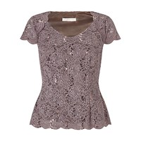 Jacques Vert Sequin Lace Jersey Top Brown
