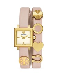 Tory Burch Saucy Charm Double Wrap Watch 25Mm Ivory Pink
