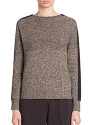 Piazza Sempione Mouline Wool And Cashmere Sweater Black Ivory