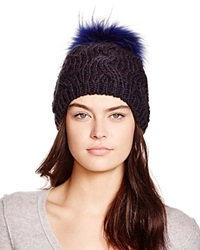 Echo Cable Knit Beanie With Asiatic Raccoon Fur Pom Pom 100 Bloomingdale's Exclusive Navy
