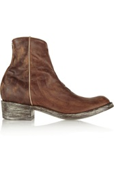 Mexicana Star Distressed Leather Ankle Boots Brown