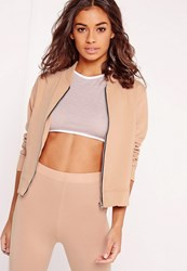 Missguided Petite Exclusive Jersey Bomber Jacket Camel Beige