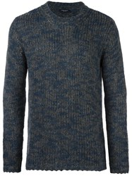 Roberto Collina Knitted Crew Neck Sweater Blue