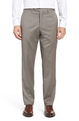Jb Britches Men's Big And Tall Flat Front Worsted Wool Trousers Khaki