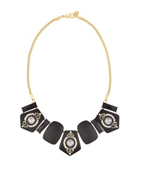Lydell Nyc Geometric Crystal Bib Necklace Black