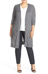 Halogenr Plus Size Women's Halogen Long V Neck Merino Blend Cardigan Heather Dark Grey