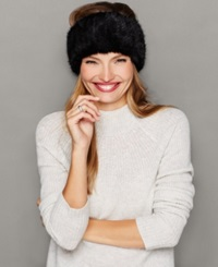 The Fur Vault Knitted Mink Fur Headband Black