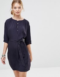 See U Soon Swing Dress With Button Front Navy