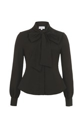 Wolf And Whistle Black Pussy Bow Blouse Black
