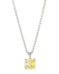 Fantasia Cushion Cut Cz Pendant Necklace Canary Yellow