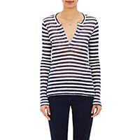 Barneys New York Women's Striped Long Sleeve T Shirt Navy Cream Navy Cream