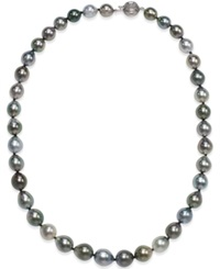 Macy's Tahitian Multicolor Pearl 8 10Mm Strand Necklace In 14K White Gold