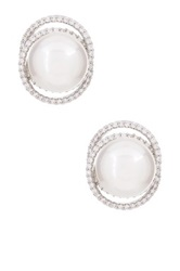 Shell Pearl And Simulated Diamonds Stud Earrings White
