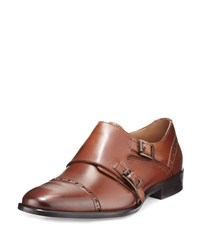 Neiman Marcus Viterbo Leather Double Monk Loafer Tan