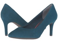 Rockport Total Motion 75Mm Pointy Toe Pump Rich Teal Kid Suede High Heels Blue
