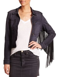 Mcguire Skywalker Leather Fringe Trim Denim Jacket The Fray