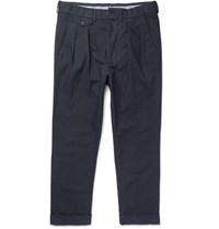 Wooster Lardini Tapered Pleated Cotton Canvas Trousers Navy