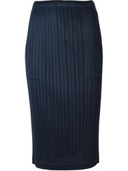 Pleats Please By Issey Miyake Pleated Pencil Skirt Blue