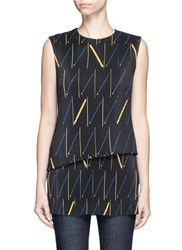 Victoria Beckham Matchstick Print Plisse Pleat Sleeveless Top Multi Colour