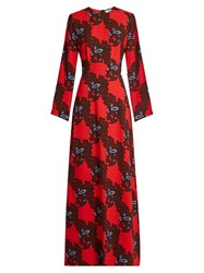 Msgm Floral Print Cady Maxi Dress Red Multi