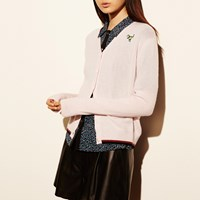 Coach V Neck Cardigan With T Rex Patch Neutral