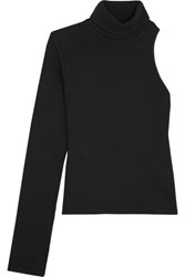 Beaufille Portia One Shoulder Ribbed Knit Turtleneck Sweater Black