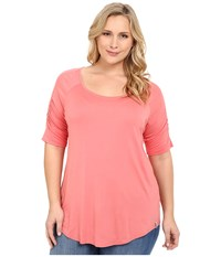 Columbia Plus Size Lumianation Elbow Sleeve Shirt Coral Bloom Women's Short Sleeve Pullover Orange