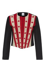 Vilshenko Fabia Embroidered Stars And Stripes Jacket Black Red White
