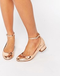 Blink Ankle Strap Low Heeled Ballerina Shoes Rose Gold Copper