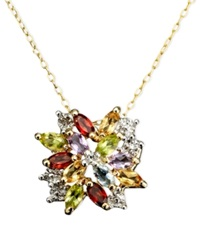 Victoria Townsend 18K Gold Over Sterling Silver Necklace Multistone And Diamond Accent Cluster Pendant