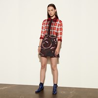 Coach Short Sleeve Plaid And Scarf Dress Red