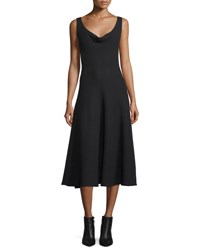 Derek Lam Sleeveless Cowl Neck Midi Dress Black