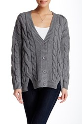 Lulu Chunky Cable Knit Cardigan Gray
