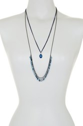 Spring Street Double Layer Stone And Pendant Necklace Blue