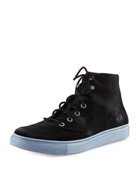 Andrew Marc New York Andrew Marc Suede High Top Sneaker Black White