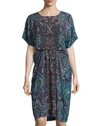 See By Chloe Mosaic Print Short Sleeve Dress Blue