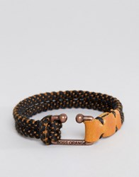 Hugo Boss Orange Mendrix2 Cord Bracelet In Black Black