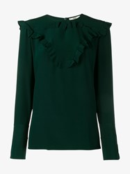 Fendi Ruffle Trimmed Silk Blouse Dark Green Emerald